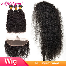 4x13 Lace Frontal Wig Kinky Curly Bundles With Frontal Closure Customized Into Wig Brazilian Human Hair Wigs Mslynn Remy Bundles(China)