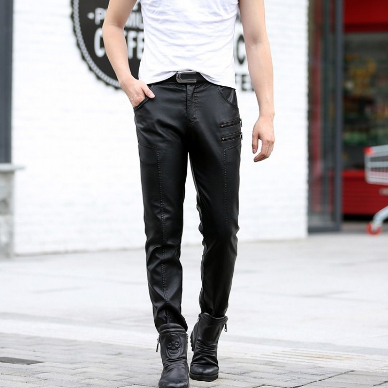 Fashion Mens Skinny Pu Leather Motorcycle Pencil Pants New Zipper Slim Fit Faux Leather Trousers Punk Long Pants Plus Size M-5XL