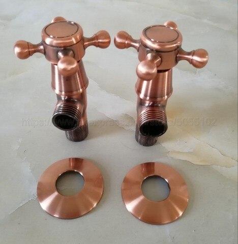 Acessório do Banheiro Cobre Vermelho Antigo Bronze Cruz Alças Banho Ângulo Parar Válvula 1 – 2 Macho x Rosca Zav012 2pcs