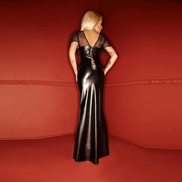 Women Clubwear Party Dress Ladies Wet Look Exotic Vinyl Leather Waist Long Dress V-Neck Long Sleeve Floor Length Maxi Dresses 2