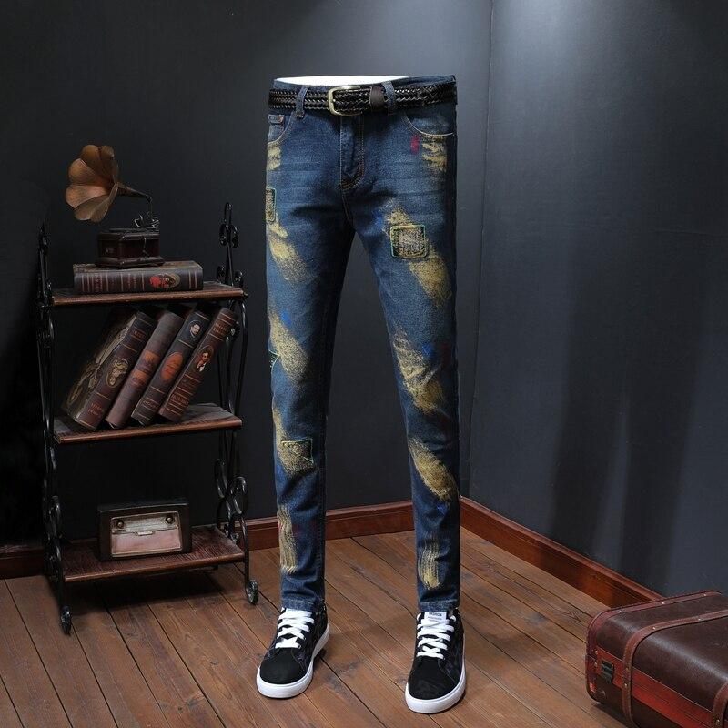 Golden Inkjet Jean Homme Casual Men Jeans Skinny Slim Fit Blue Men's Denim Trousers Biker Straight Pants Streetwear Clothes