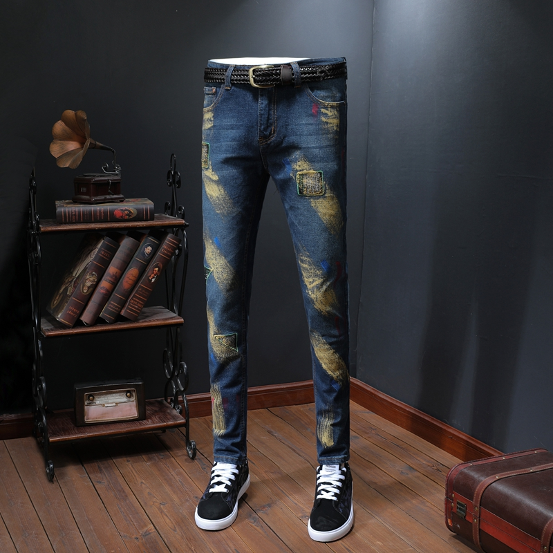 Golden Inkjet Jean Homme Casual Men Jeans Skinny Slim Fit Blue Men's Denim Trousers Biker Straight Pants Streetwear Clothes image