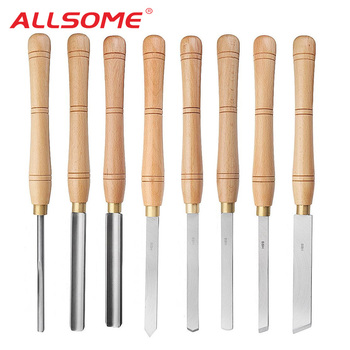 ALLSOME High Speed Steel Lathe Chisel Wood Turning Tool With Wood Handle Woodworking Tool 8 Types Durable HT2864
