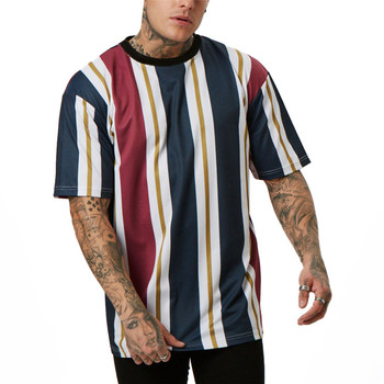 цена на Men T Shirt Fashion Striped Loose Top Male O-neck Tops Tee Summer Short Sleeve T-shirt Cotton Tee Shirts Hip hop Tees Streetwear