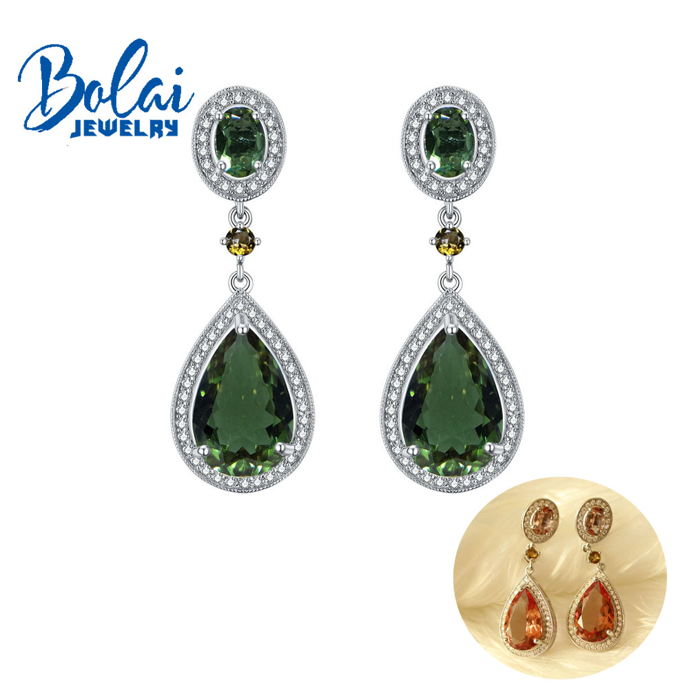 zultanite long earrings color change gemstone with 925 sterling silver fine jewelry ear stud for girl Bolaijewelry,promotion