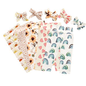 Newborn Baby Pants Floral Rainbow Print Baby Girl Clothes Spring Autumn Toddler Boys Trousers Cotton Soft Toddler Pants Headband