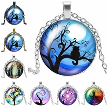 2019 New Hot Colorful Life Tree Series Glass Cabochon Jewelry Pendant Necklace Fashion Jewelry Gift 2019 new best selling starry unicorn series glass cabochon jewelry pendant necklace fashion jewelry gift