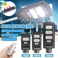 LED 가로등 30/60/90W 50/100/150LED 태양 거리 벽 빛 Ip65 방수 레이더 유도 야외 타이밍 램프 + 원격
