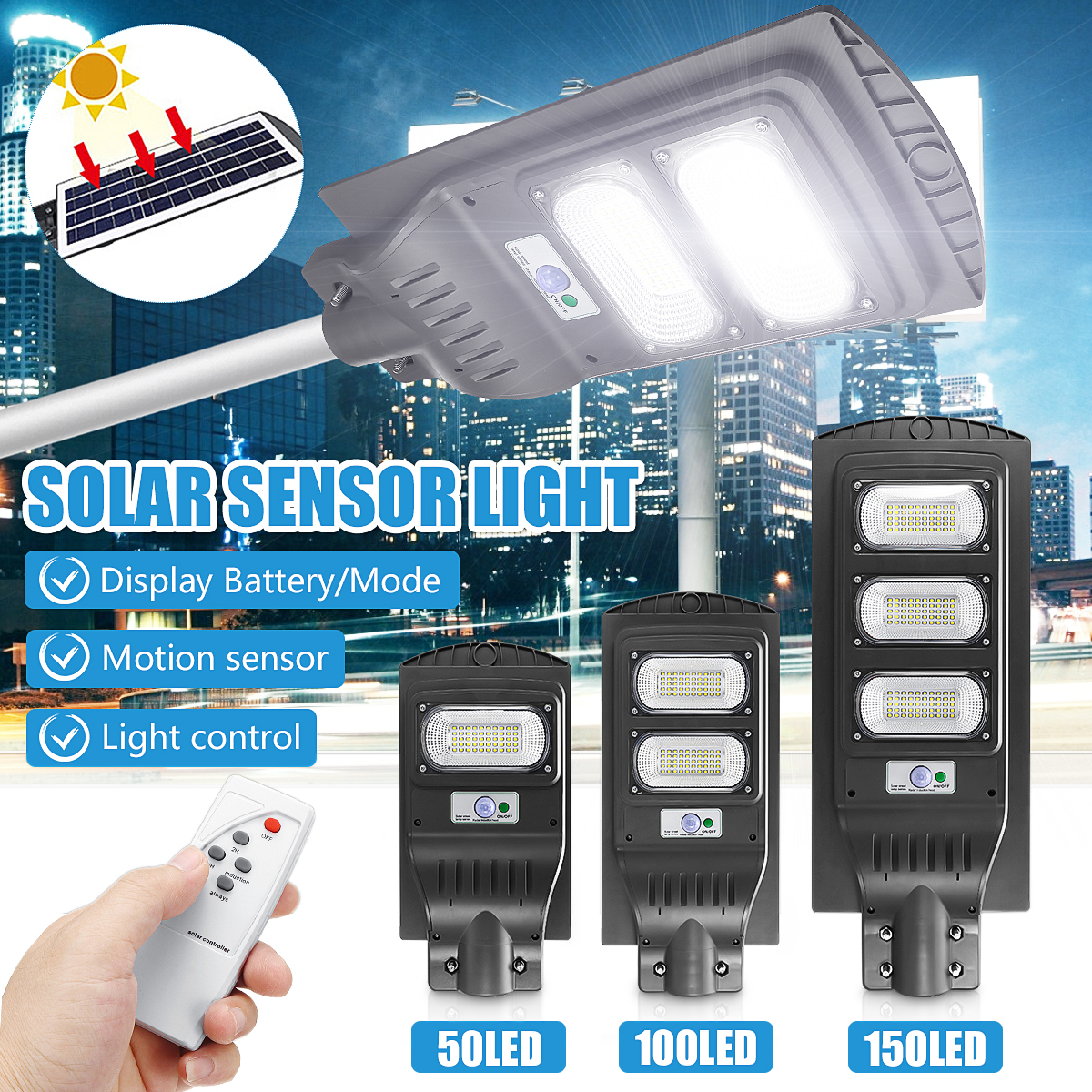 LED Street Light 30/60/90W 50/100/150LED Solar Street Wall Light Ip65 Waterproof Radars Induction Outdoor Timing Lamp + Remote