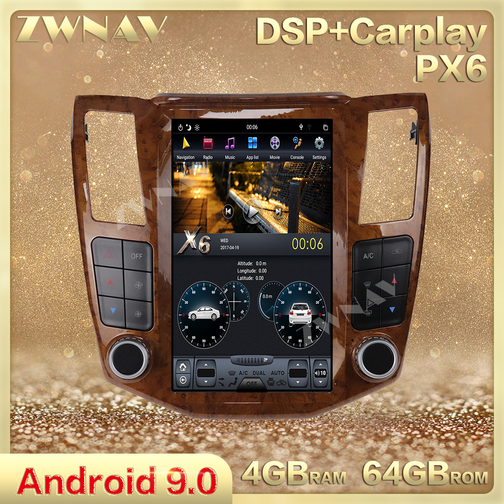 Tesla Style Screen Android 9.0 Car Multimedia Player For For Lexus RX RX300 RX330 RX350 RX400H Car Radio Stereo GPS BT Head Unit