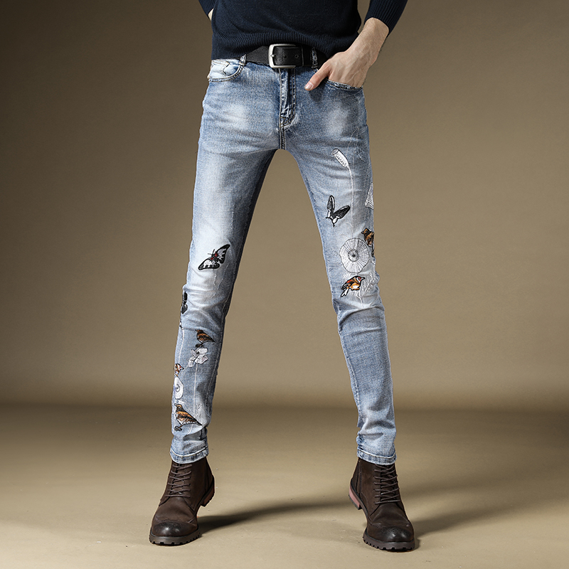 Free Shipping New 2019 Men's Male Denim Pants Jeans Autumn Thin Tide Brand Chinese Style Embroidery Literary Slim Trousers