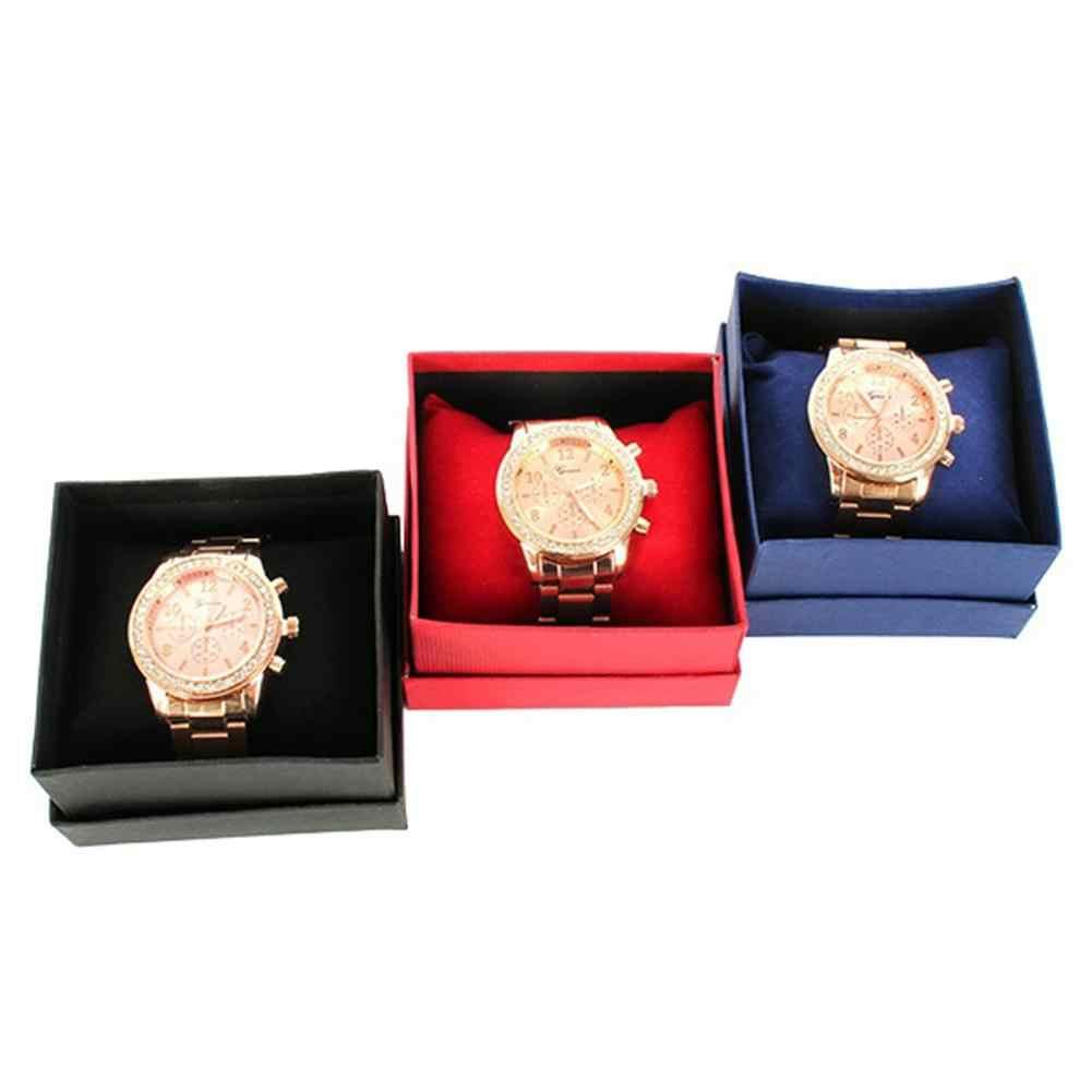 صندوق مقوى مربع حقيبة للتخزين ساعة الإسورة مجوهرات هدية صندوق مع وسادة وسادة جديد