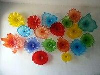 Multi Cor Placas De Vidro Murano Arte Da Parede Vieira Edges Flor Arte Da Parede Lâmpadas de Vidro Soprado