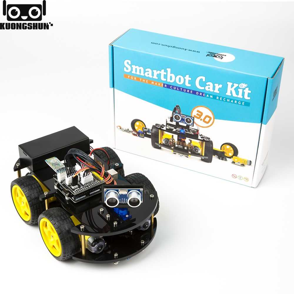 Nanlaohu Smart Robot Chassis Kit Smart Car Tracking Motor 2wd Ultrasonic Intelligent and Educational Toy Car Robotic Kit for Arduino Learner