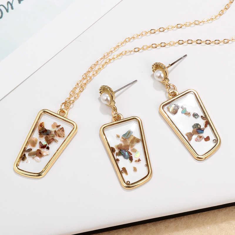 Set di Gioielli per Le Donne Del Cuore di modo Delle Signore Degli Orecchini Della Collana Set Da Sposa di Cerimonia Nuziale bijoux parures 2pcs Collana di Cristallo Set