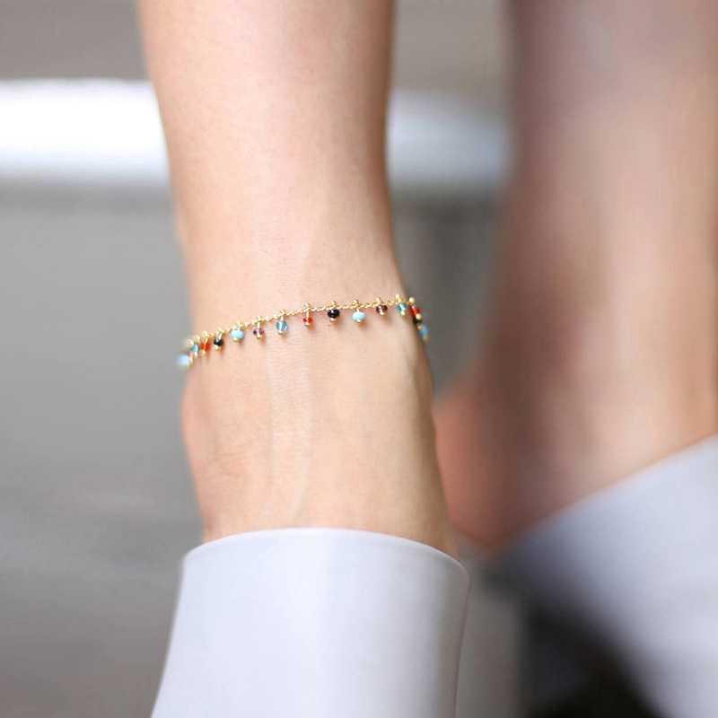 SHUANGR แฟชั่นอินเทรนด์เครื่องประดับคริสตัล Rhinestone คริสตัล DROP ข้อเท้าฤดูร้อน Barefoot ขาข้อเท้าสร้อยข้อมือสำหรับผู้หญิง