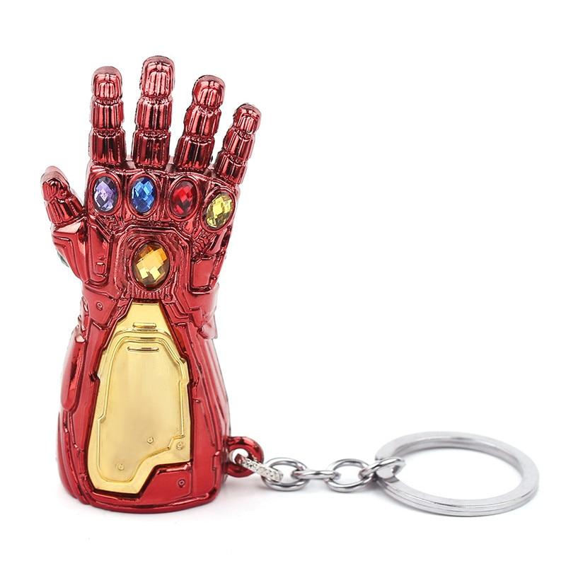 Marvel Мстители 4 Железный человек Бесконечность гаунтлет Косплей рука танос латексные перчатки руки супергерой бутафорское оружие ключ цепь - Цвет: Red