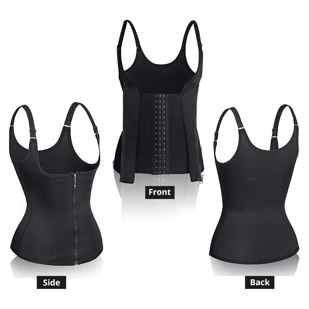CXZD Women Waist Trainer Corset Zipper Vest Body Shaper Cincher Shaperwear Waist Traine Push Up Vest Tummy Belly Girdle Body Shaper (10)