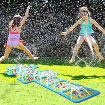 Almohadilla de riego para niños al aire libre, cojín de Agua pulverizada inflable, colchoneta de agua de verano para niños, juegos de césped, juguetes de aspersores