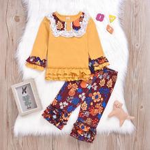 Хлопковая футболка с длинными рукавами для маленьких девочек, кружевной топ Yello+ штаны с цветочным принтом, комплект одежды из 2 предметов для девочек 18 мес.-5 лет