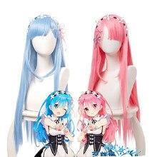 Re vida em um mundo diferente de zero rem ram rosa azul longo reta cosplay cabelo sintético festa de halloween carnaval + peruca boné