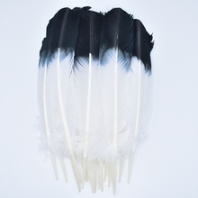 10Pcs Turkey Feathers Wing Quill Feather Black Tipped Imitation 25-30cm Eagle Feathers for Crafts Feather Decor Plume Decoration 2yards lot turkey feather fringe ribbon 5 6inch chandelle marabou turkey feathers trim skirt dress feather decoration plumas diy
