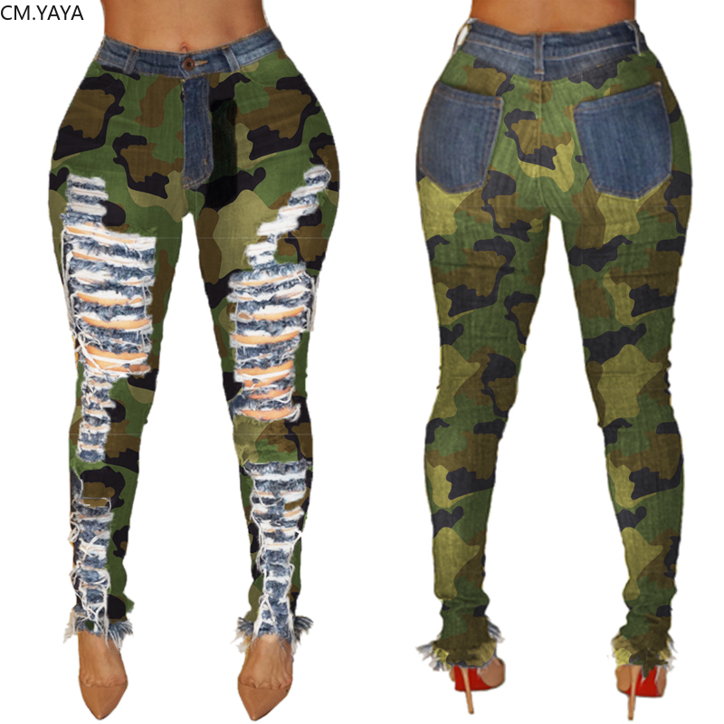 2019 New Autumn Winter Female Denim Pants Women Skinny Hole Spliced Camouflage Print Jeans Sexy pencil Bandage Trousers HSF2096 3