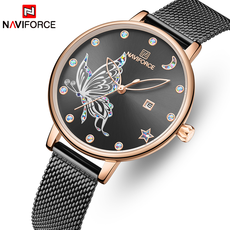NAVIFORCE Rose Gold Watch Women Top Brand Stainless Steel Mesh Ladies Watches Womens Fashion Quartz Dress Clock Relogio Feminino
