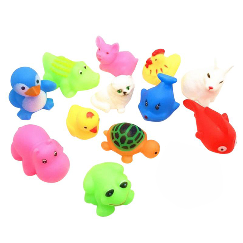 13 Pcs Summer Baby Toys Children Bathing Water Toys Animal Pinching Voice Float Squeaky Animal Toy