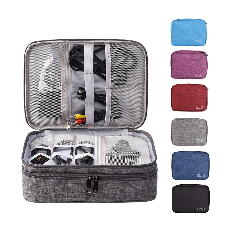 Portable Electronic Gadget Supplies Organizer Charger Earphone Digital Travel kit Double layer large capacity Accessories bags