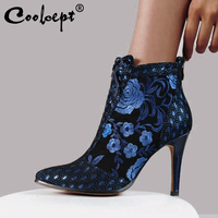 Coolcept Ladies Pointed Toe Ankle Boots Flower Print Stiletto Heel Suede Short Plush Shoes Winter Warm Shoes Size 34 43