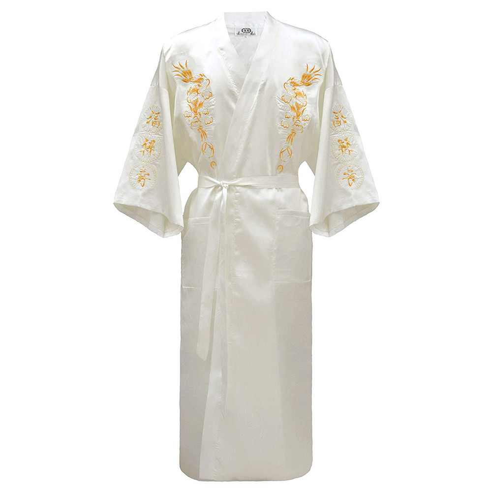 Vintage Kimono Bathrobe Gown Home Clothing Chinese Men Embroidery Dragon Robe Traditional Male Sleepwear Casual Nightwear