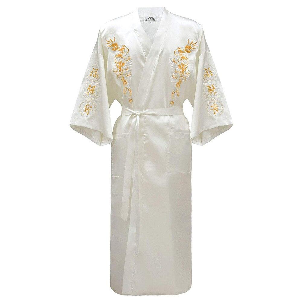 Vintage Kimono Bathrobe Gown Home Clothing Chinese Men Embroidery Dragon Robe Traditional Male Sleepwear Casual Nightwear