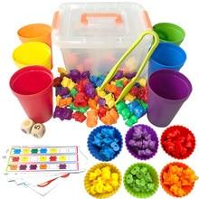 Crianças montessori brinquedo 1 conjunto caixa de contagem urso montessori cognição educacional arco-íris jogo de correspondência brinquedos educativos presentes