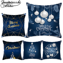 Fuwatacchi Blue Christmas Deer Pillow Dream Snow Elk Pattern Covers Pillowcases Home Sofa Chair Decorative Cushion Covers 45x45