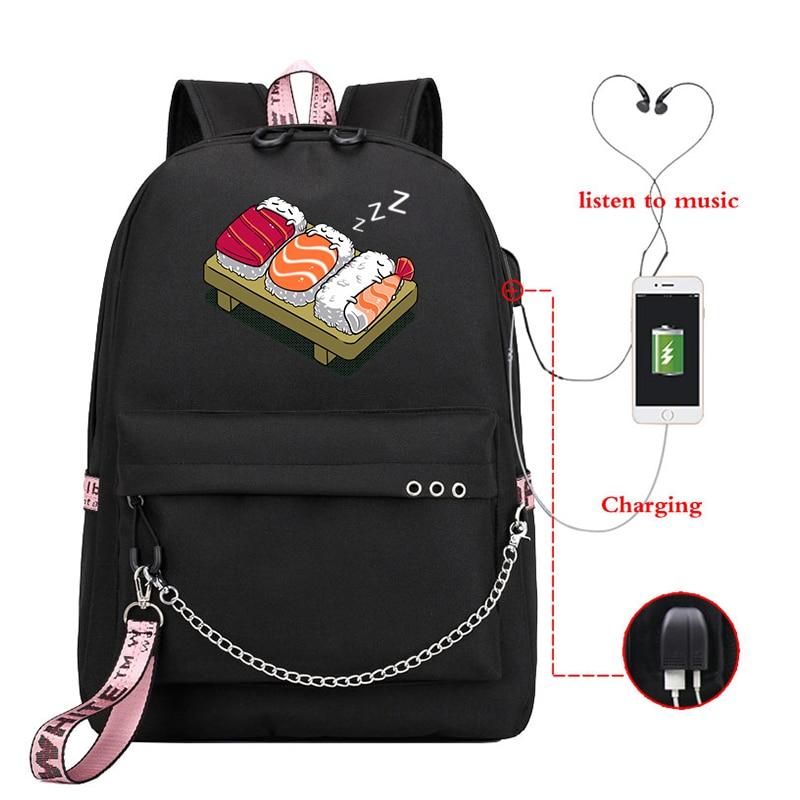 Student Backpacks Sushi Printed Girls School Backpack For Teenage Girl USB School Bag Canvas Middle Junior High College Bagpack