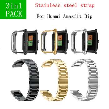 3in1 for Xiaomi Huami Amazfit Bip Strap Metal stainless steel strap Amazfit Bracelet Watch Beep Screen Protector Soft TPU Case