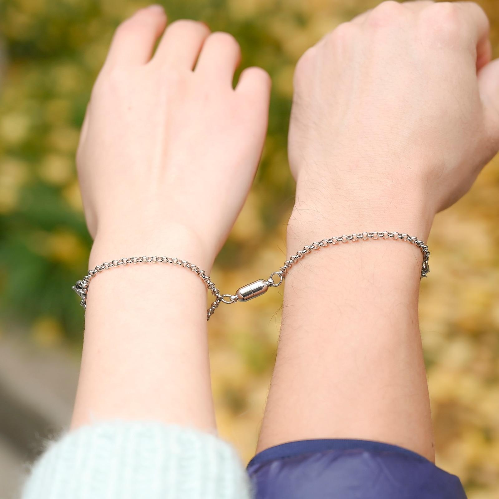 1 пара магнитных браслетов для женщин и мужчин, браслет-цепочка из титановой стали, ювелирные изделия для влюбленных из нержавеющей стали
