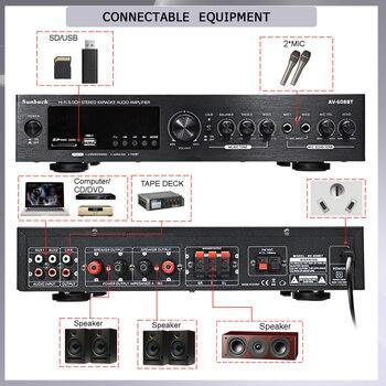 Усилитель мощности SUNBUCK 608BY, 2*100 Вт, Bluetooth, FM, USB 5