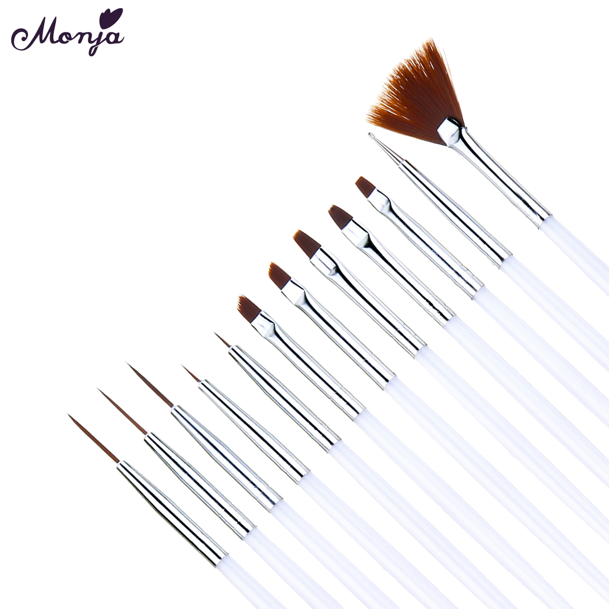 Monja Nail Art Brush With French Design Lines Made With Metal And Fiber Hair Material For Nail Art Salon Tools 2