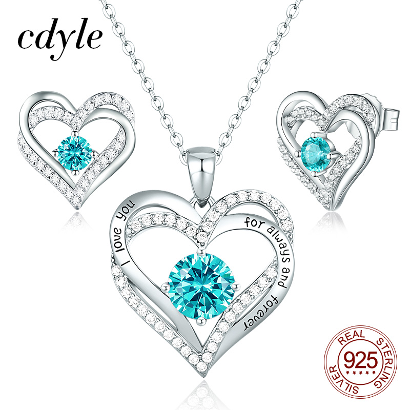 Cdyle Cubic Zirconia Two Heart Shape Pendant Necklace Stud Earrings Set 925 Sterling Silver Bridal Jewelry Sets for Women