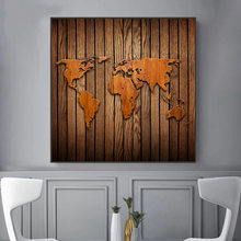 A Map Of The World Retro Old Art Canvas Paintings Posters Prints Cuadros Wall Art Picture For Living Room Home Decoration