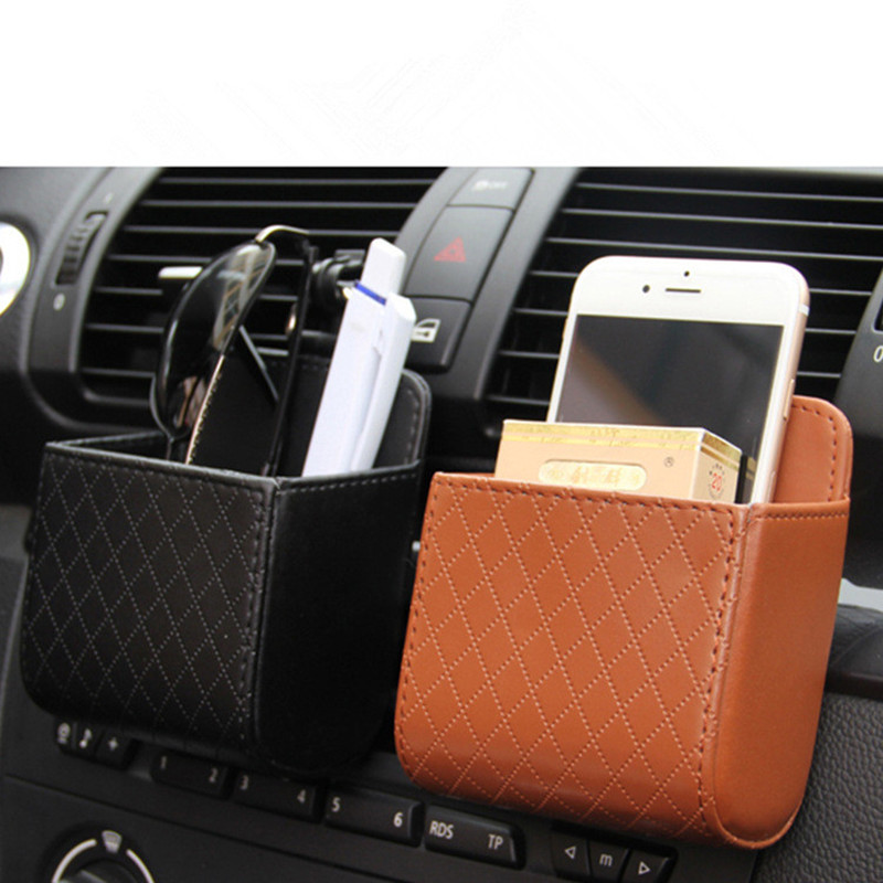 Auto Vent Outlet Trash Box PU Leather Car Mobile Phone Holder Storage Bag Organizer Automobile Hanging Box Car Styling bag title=
