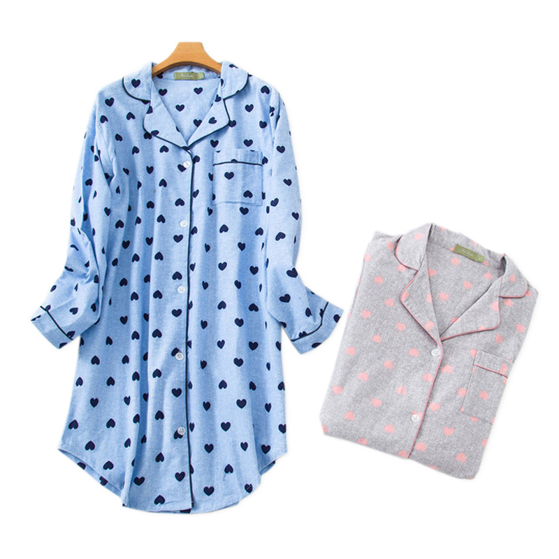 Plus Size Winter Loving Heart Nightgowns Women Long Sleeve 100% Brushed Cotton Sleepshirts Sexy Night Dress Women Sleepwear