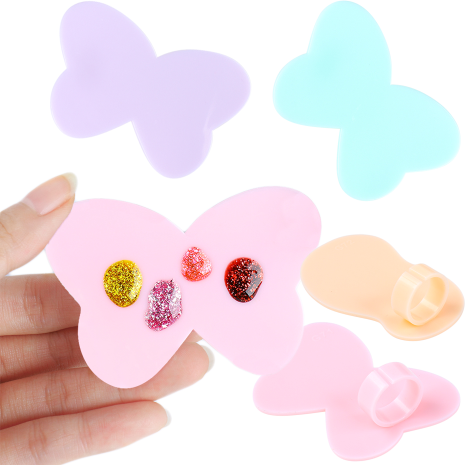 2Pcs Nail Art Paint Palette Mini Finger Ring Plate Drawing Watercolor Nail Gel Polish Pigment Holder Makeup Manicure Tool JI1593