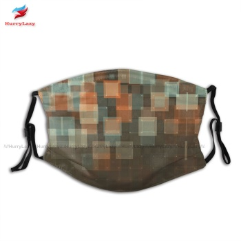 Cloth Fancy LeMans Geometric Squares Pattern Mouth Face Mask Breathable Fast Shipping Adults Facial Mask With Filters image