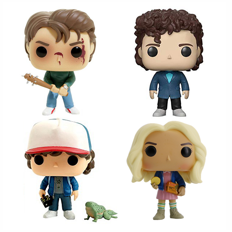Stranger Things Figure Dustin & Dart (Hot Topic) Steve Eleven Action Figure  Original Funco Popular Hot Toys for Children tartan