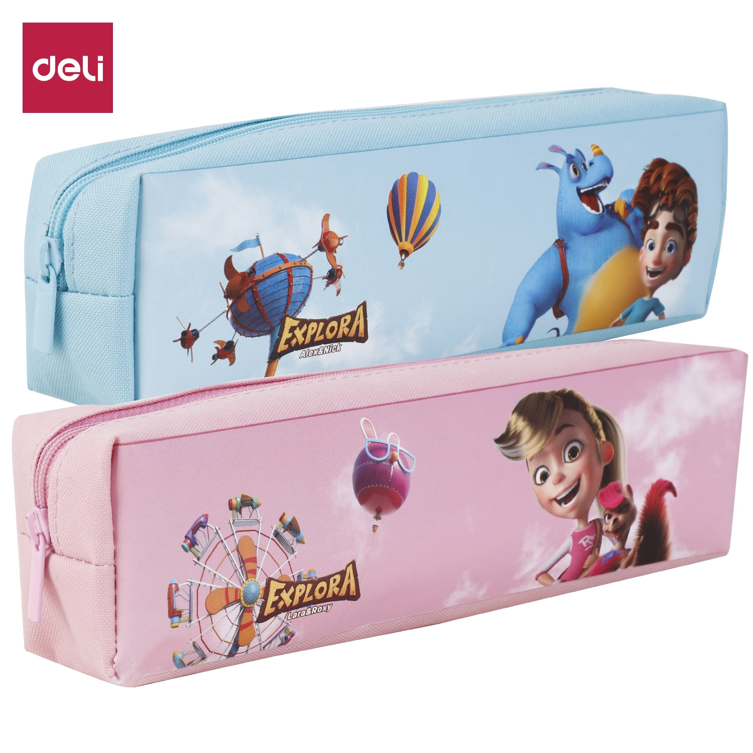 DELI Pencil Bags Cases Colorful Cartoon Large Capacity Creative Fabric Pen Box Pouch Case School Stationary Supplies EZ86002