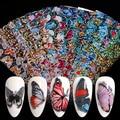 Наклейки для дизайна ногтей с бабочками, слайдеры, цветные переводные наклейки для ногтей, обертывания, украшения для дизайна ногтей, лазер...