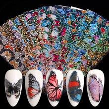 Borboleta arte do prego adesivos esparadrapos sliders colorido transferência de unhas decalques folhas envolve decorações da arte do prego a laser manicures